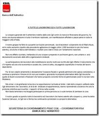 sciopero banca dell'adriatico