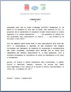 Comunicato unitario 01 04 2014